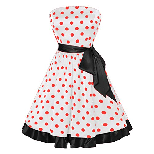 Muranba Women Sleeveless Dots Print Vintage Flare Party