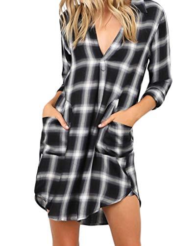 kenoce Women Plaid Shirt Dress Buffalo Check Long Sleeve V Neck Blouses Tunic Summer Pocket Mini Shirt Dresses Black L ()