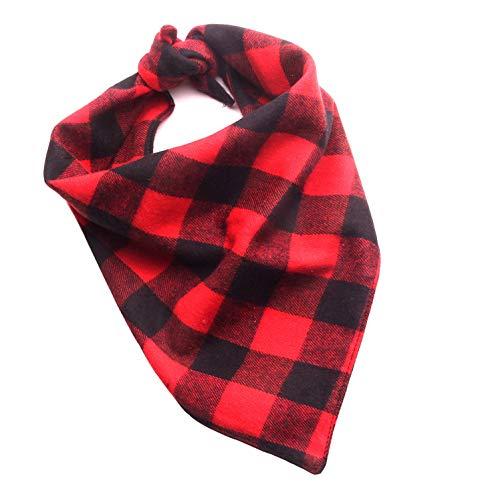 Ranphy Christmas Dog Bandanas Plaid Triangle Bibs Pet Head Scarf Kerchief Comfy Cotton Xmas Neckerchief for Small Medium Dogs Red L ()