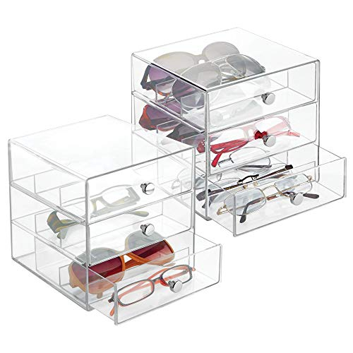 mDesign Stackable Plastic Eye Glass Storage Organizer Box Holder for Sunglasses, Reading Glasses, Accessories - 3 Divided Drawers, Chrome Pulls, 2 Pack - Clear