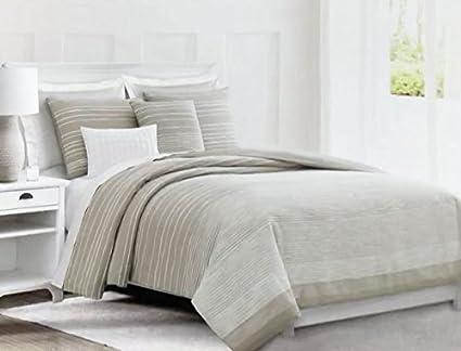 tan duvet cover. Tahari Bedding Retro Vintage Pattern Jacquard Woven White Stripes On Tan/Beige Duvet Cover Set Tan K