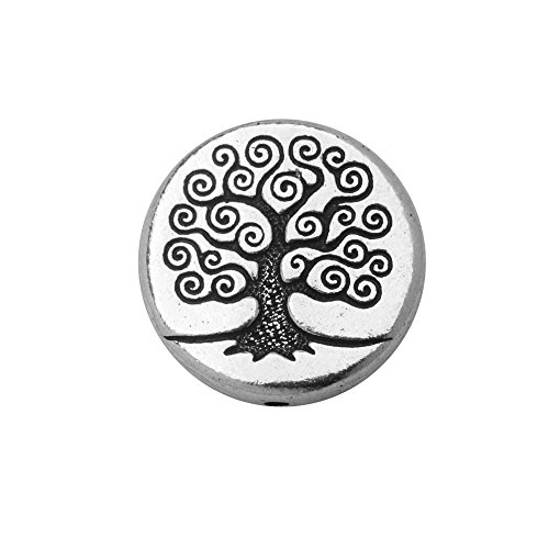 TierraCast Bead, Puffed Coin with Tree of Life Design 4x13.5mm, 2 Pieces, Antiqued Silver Plated (Coin Puffed Beads)
