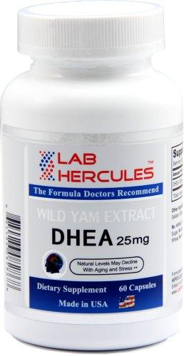 HERCULES DHEA 25 mg, extrait d'igname sauvage, niveaux naturels déclinent avec le vieillissement et le stress 25 mg, 60 capsules