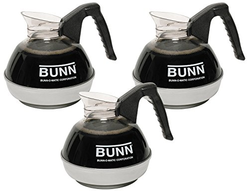 Bunn Glass Decanter - BUNN 06100.0103 12 Cup Easy Pour Commercial Decanter with Handle (3 Pack), Black