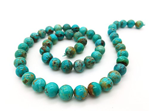 Blue Ridge Turquoise 8mm Natural Turquoise Round Bead Strand (16'' Strand)