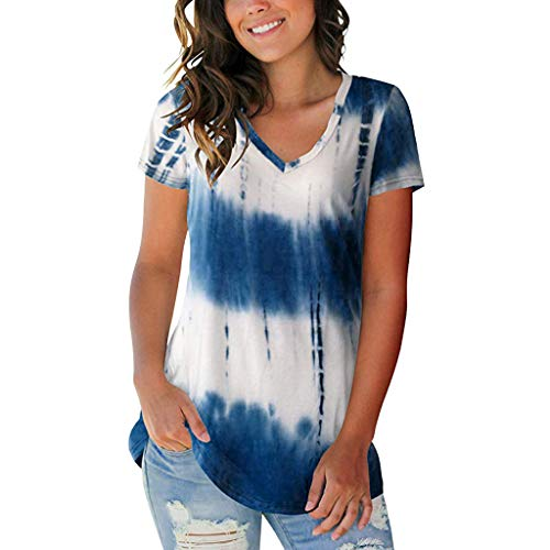 〓Londony〓 Womens Casual Tunic Tops Pocket Shirt Short Sleeves Solid Color&Tie Dye Blouse Super Colorful Tie Dye T-Shirt Blue