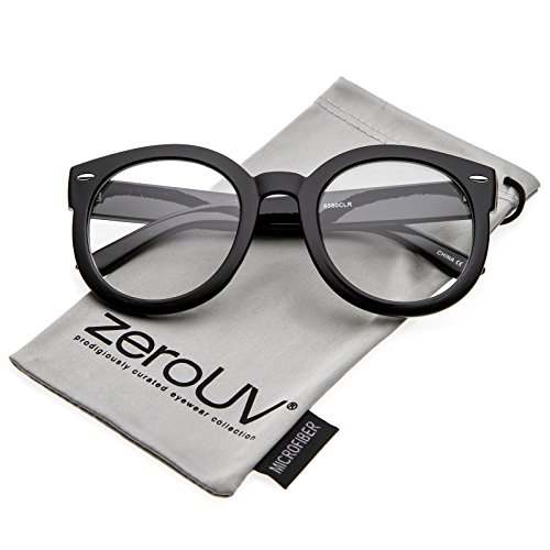 f84622bdbf zeroUV - Oversize Thick Arms Round Clear Lens Horn Rimmed Eyeglasses 53mm  (Black Clear)