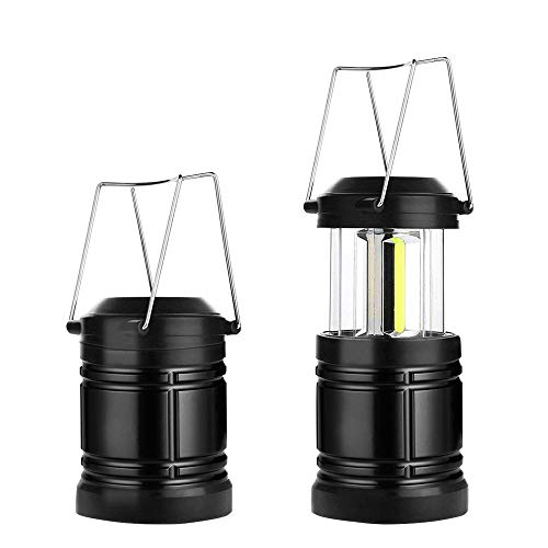 (LED Camping Lantern Military Tac Light Lantern with Magnetic Base & Collapsible Ultra Bright Portable LED Torch (2 Pack Black))