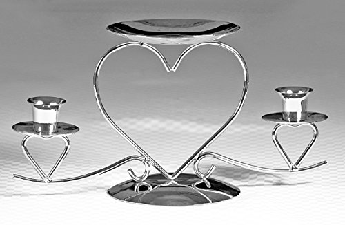 (Wedding Accessories, Unity Candle Stand, Triple Heart, Silver, 10.5-Inches x 5.5-Inches)