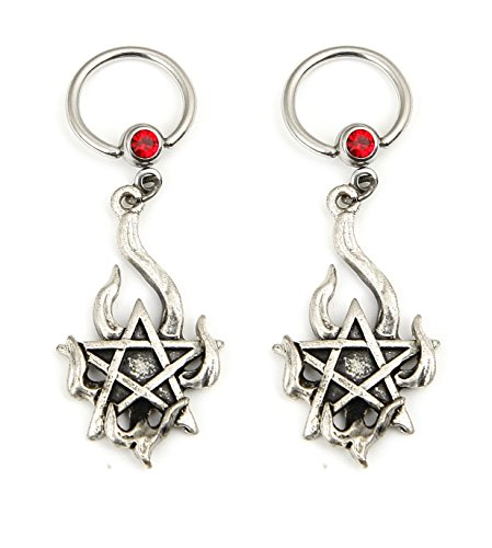(JewelryVolt 1 Pair 14G SS Dangling Nipple/Belly Ring Hoop -Star David Hook Fire Flame Red)