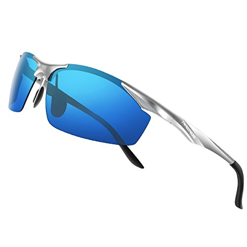 PAERDE Men's Sports Style Polarized Sunglasses for Men Driving Fishing Cycling Golf Running Al-Mg Metal Frame Ultra Light Glasses (Silver frame&Ice blue - Best For Driving Sunglasses