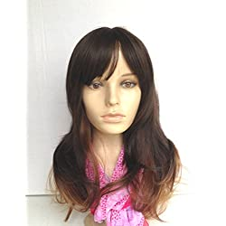 Natural Wig Skin-top Heat Friendly Synthetic Hair Ombre Dip Dye Brunette Dark Chestnut Brown Long Wavy Curly Sexy for Regular Wear or Cosplay (BONUS: 2 Wig Caps Provided)