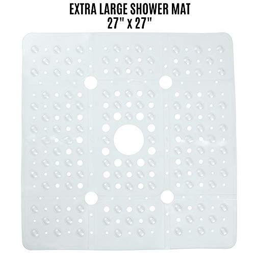 - SlipX Solutions Extra Large Clear Square Shower Mat Provides 65% More Coverage & Non-Slip Traction (27