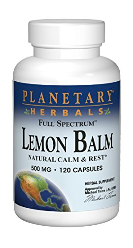 Planetary Herbals Lemon Balm Full Spectrum 500mg, Natural Calm and Rest, 120 Capsules (Herbals Lemon Balm)