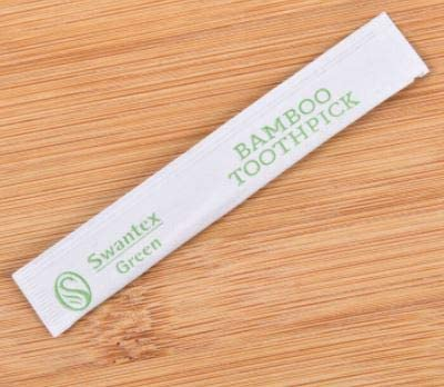 Swantex Green Toothpick 25 UK Seller Fast Prime Postage Bamboo Recyclable not Plastic Each Individually Wrapped