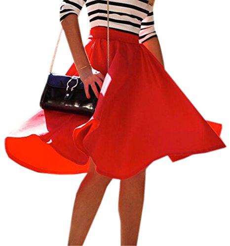 Smple Jupe Rouge Word Plisse DaBag jupe Sexy Casual Elephant Couleur Femmes Unie Rouge Haute longue Taille Mode A Jupe Jupes Mi ZZ6HPq