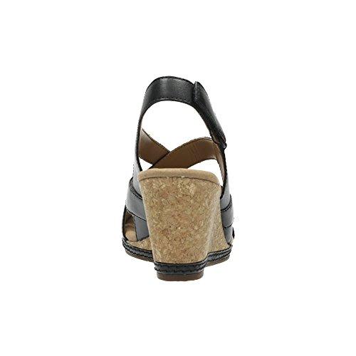 Clarks coral coral helio para mujer elegante cuña sandalias de tacón Black Leather