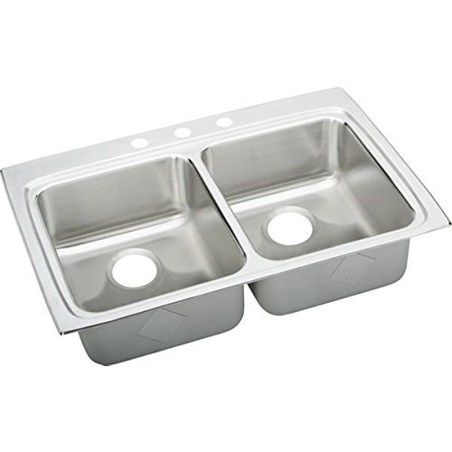 Elkay LRADQ3322553 Lustertone Drop-In Double Bowl ADA Compliant Kitchen Sink, 33 Inch 3-Hole, Stainless Steel