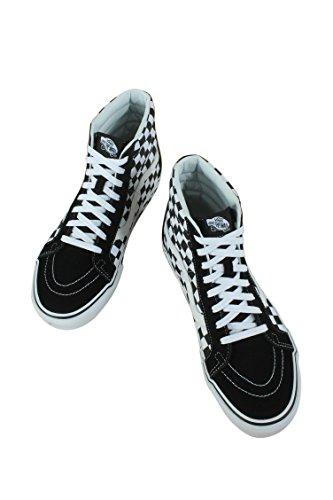 Bestelwagens Unisex Sk8-hi Skate Schoenen, Kant-up High-top Stijl In Duurzaam Canvas En Suède Bovendeel, Ondersteunende En Gevoerde Enkels In Busjes Gevulkaniseerd Handtekening Wafel Zool Zwart / True White / Check