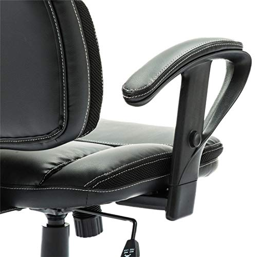 Irene House Comfortable Adult Teen's Swivel Adjustable PU Desk Chair,Ergonomic Mid-Back Student Computer Task Chair,Medium Adult's Home Office Chair(Black) by Irene House (Image #2)'