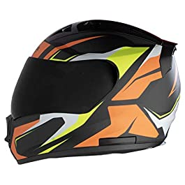 STEELBIRD HELMET SA-1 AVIATE MATT BLACK/ORANGE 600mm Helmet Fitted with Clear Visor and Extra SMOKE VSR