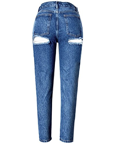 Jeans Mujer Striaght Agujeros Alta Cintura Slim Vaqueros Pantalones Oscuro Azul