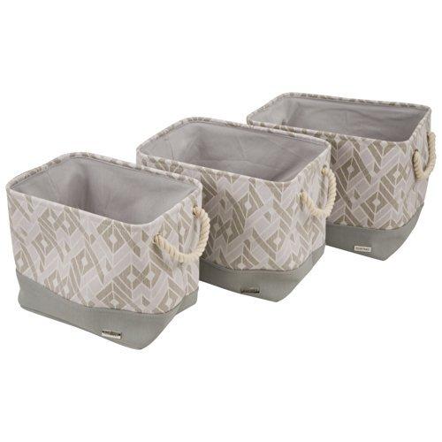 Amazon.com: Ellen Tracy Soft Storage Bins With Rope Handles   GEO  (Nested  Set Of 3): Home U0026 Kitchen