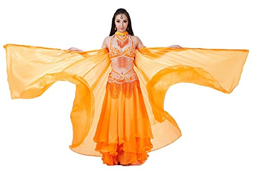 AvaCostume Exotic Belly Dance Costume Big Isis Wings, Orange (Sexy Belly Dance Costumes)