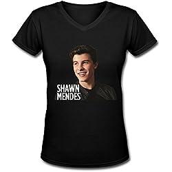 Canadian Pop Shawn Mendes Tour 2016 Women's V Neck Tee Shirt