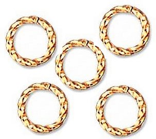 UnCommon Artistry 8mm Open Gold Plated Jump Rings Fancy Twist 18g. Q.50