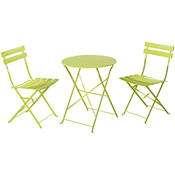 grand patio premium steel patio bistro set folding outdoor patio furniture sets 3 piece patio set of foldable patio table and chairs green
