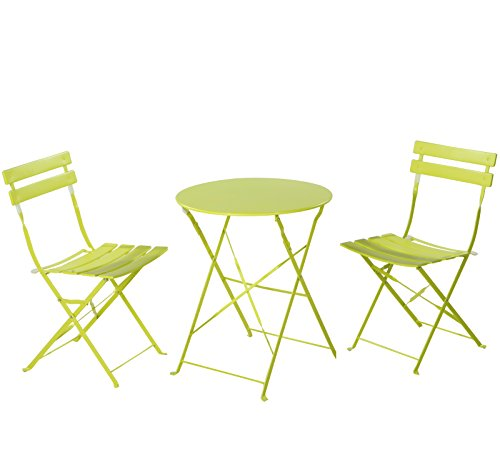 Grand Patio Premium Steel Patio Bistro Set, Folding Outdoor Patio Furniture Sets, 3 Piece Patio Set of Foldable Patio Table and Chairs, Green (Wrought Iron Porch Furniture)