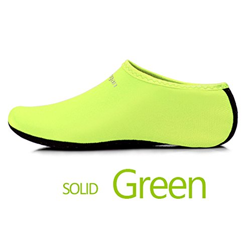 JIASUQI Kinder, Frauen und Herren Classic Barfuß Wassersport Haut Schuhe Aqua Socken für Beach Swim Surf Yoga Übung Grün