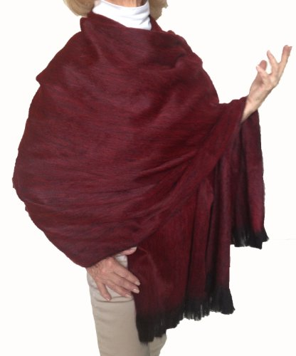 Super Soft Baby Alpaca Wool Reversible Shawl Wrap Cape Deep Dark Red Color