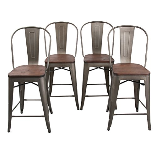 HAOBO Home 24 High Back Barstools Metal Stool with Wooden Seat Set of 4 for Indoor Outdoor Bar Stools, Bronze