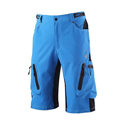 Men's Short Pants forOutdoor Cycling Polyester + Lycra Waterproof Short Pants with Adjustable Waistband - Blue (M)