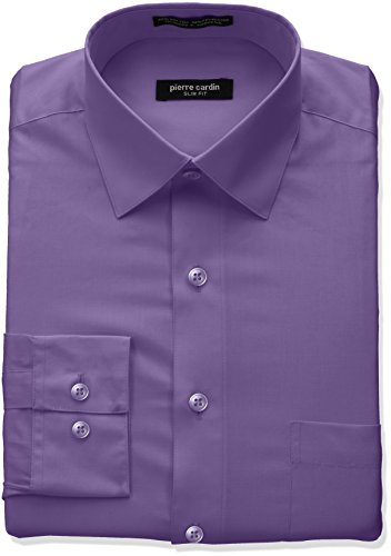 Pierre+Cardin+Men%27s+Slim+Fit+Solid+Broadcloth+Semi+Spread+Collar+Shirt%2C+Dark+Grape%2C+15%22-15.5%22+Neck+32%22-33%22+Sleeve