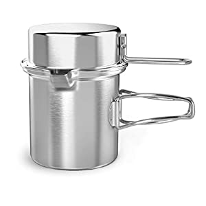 Chihee Camping Cooking Kettle 1L Outdoor Cookware Stainless Steel Pot with Extended Handle and Dual Use Cover Portable for Hiking Backpacking Picnic