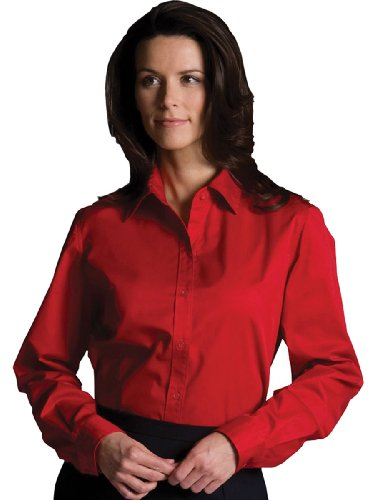 - Edwards Garment Women's Wrinkle Resistant Long Sleeve Twill Shirt, Red, XX-Large