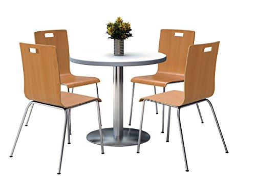 (KFI Seating Round Laminate Top Pedestal Table with 4 Natural Stacking Bentwood Chairs, 36