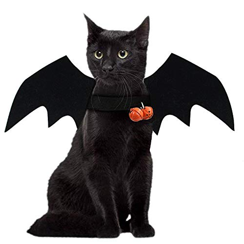 JHFY Cat Bat Costume – Black Cat Bat Wings Cosplay – Pet Costumes Apparel for Cat Small Dogs Puppy for for Small Dogs…