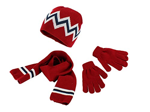 Polar Wear Boys Winter Knit Slouch Beanie Hat Scarf Gloves Set,Red/White/Navy, OS (Wear Hat Knit)