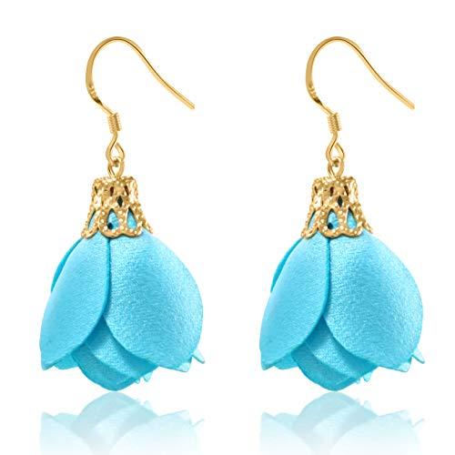 Rose Flower Tassel Earrings Fabric Dangle Drop 925 Silver French Hook Jewelry for Women's (Aqua Blue)