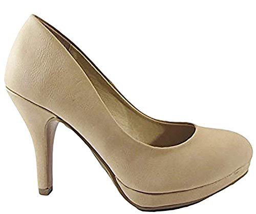 City Classified Womens Jack Round Toe Pump Shoes Natural Nubuck ()