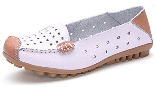 NEWZCERS Zapatos de conducción casual cuero de cuero de cuero sólido Ahuecar a cabo Tallar pisos flacos deslizarse en los zapatos de barco para las mujeres blanco