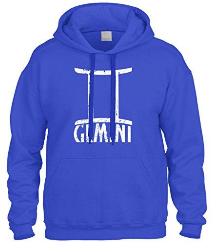 Cybertela Distressed Gemini Sign Sweatshirt Hoodie Hoody (Royal Blue, Medium)