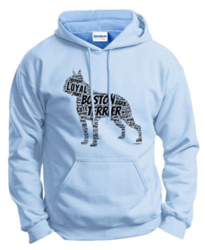 Dog Clothes Boston Terrier Word Art Dog Puppy Owner Gift Hoodie Sweatshirt Small LtBlu