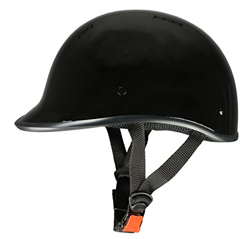 Milwaukee Performance Helmets Unisex-Adult Half Derby Helmet (Shiny Black, XX-Large)