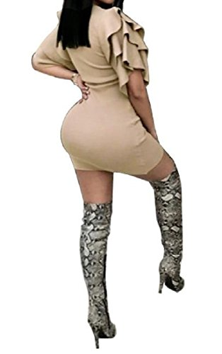 Sleeve As1 Nightclub Pencil Mid Dresses Flounced Women's Comfy Skinny Short fBqgq7S