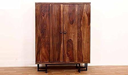 Aprodz Sheesham Wood Wine Storage Muchea Stylish Bar Cabinet for Living Room | Teak Finish